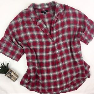 Madewell Button-back Courier Plaid Flannel Top